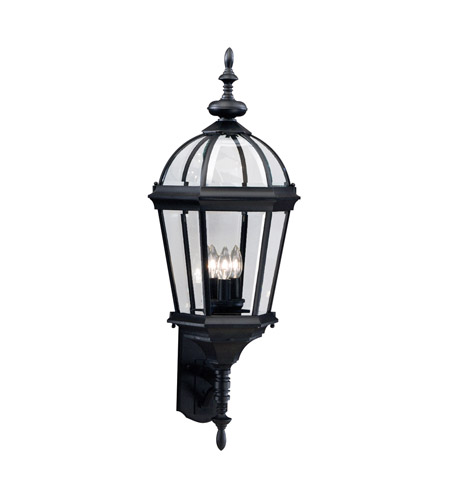 Kichler 9252bk trenton 3 light 33 inch black outdoor wall lantern photo