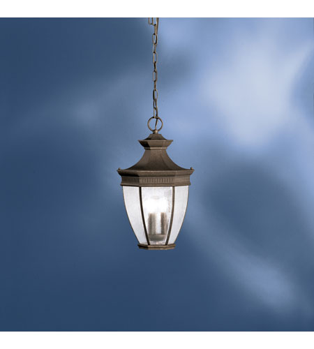Kichler lighting warrington outdoor pendant 3lt in tannery bronze w gold accent 9371tzg