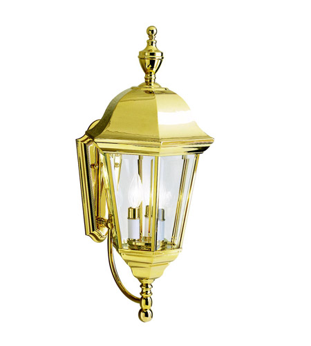 Kichler Lighting Grove Mill 3 Light Outdoor Wall Lantern in Polished Brass 9489PB photo