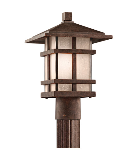 Kichler Lighting Cross Creek 1 Light Outdoor Post Lantern in Aged Bronze 9527AGZ photo