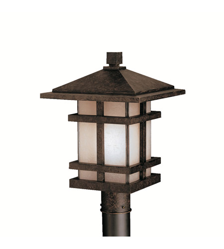 Kichler Lighting Cross Creek 1 Light Outdoor Post Lantern in Aged Bronze 9529AGZ photo