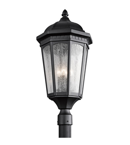 Kichler 9533BKT Courtyard 3 Light 27 inch Textured Black Post Lantern photo