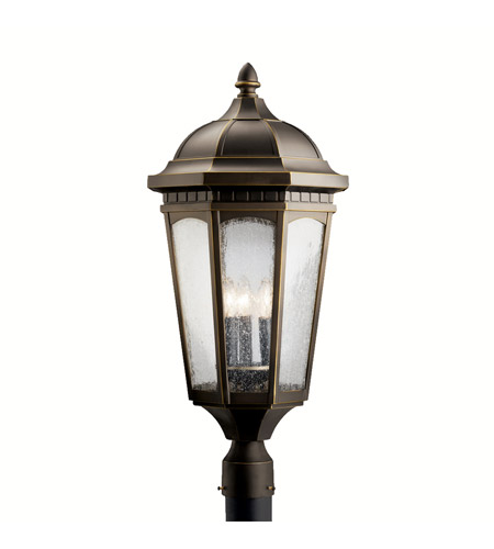 Kichler Lighting Courtyard 3 Light Outdoor Post Lantern in Rubbed Bronze 9533RZ