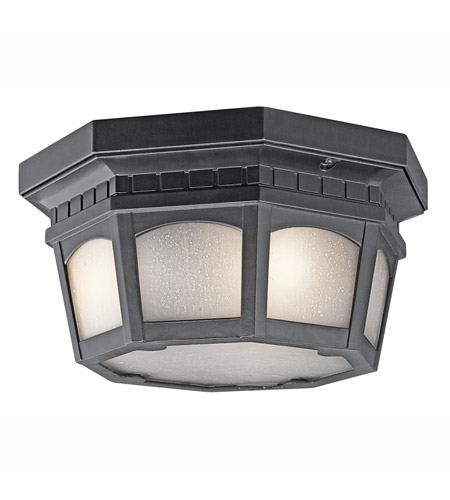 Kichler Lighting Weatherly 3 Light Outdoor Flush Mount in Black (Painted) 9538BK