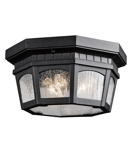 Kichler Lighting Courtyard 3 Light Outdoor Flush & Semi Flush Mount in Textured Black 9538BKT