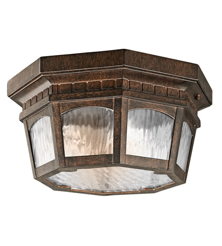 Kichler Lighting Tolland 3 Light Outdoor Flush Mount in Brushed Bronze 9538BRZ photo