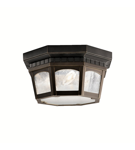 Kichler Lighting Courtyard 3 Light Outdoor Flush Mount in Rubbed Bronze 9538RZ photo