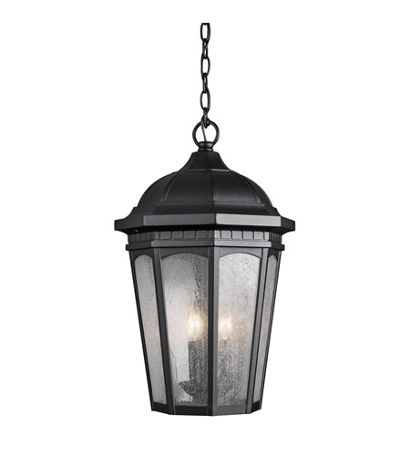 Kichler Lighting Courtyard 3 Light Outdoor Hanging Pendant in Textured Black 9539BKT photo