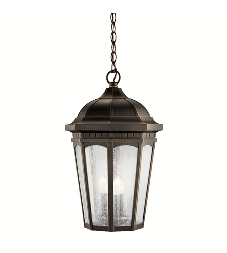 Kichler Lighting Courtyard 3 Light Outdoor Pendant in Rubbed Bronze 9539RZ photo