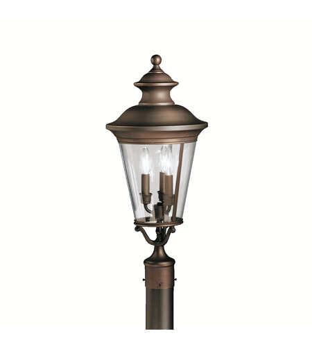 Kichler Lighting Eau Claire 3 Light Outdoor Post Lantern in Olde Bronze 9547OZ
