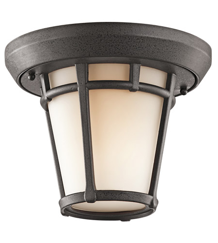 Kichler Lighting Lura 1 Light Outdoor Flush Mount in Anvil Iron 9555AVI