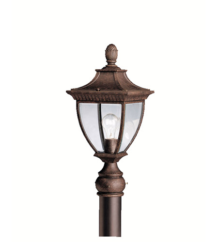 Kichler lighting amesbury 1 light outdoor post lantern in tannery bronze w gold accent 9562tzg
