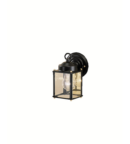 Kichler 9611BK Signature 1 Light 8 inch Black Outdoor Wall Lantern in Clear Glass photo