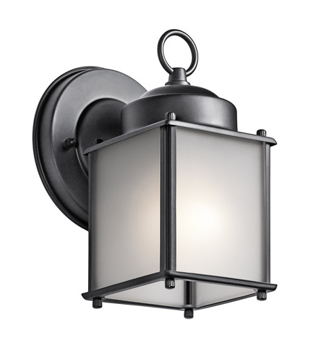 Kichler 9611BKS Signature 1 Light 8 inch Black Outdoor Wall Mount in Satin Etched Glass photo