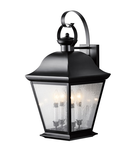 Kichler Lighting Mount Vernon 4 Light XLarge Outdoor Wall Lantern in Painted Black 9704BK