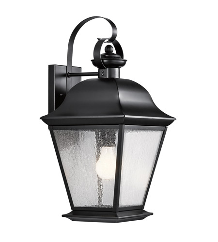 Kichler Lighting Mount Vernon 1 Light Large Outdoor Wall Lantern in Black 9709BK