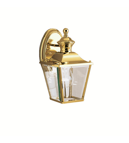 Kichler 9711pb bay shore 1 light 10 inch polished brass outdoor wall lantern photo
