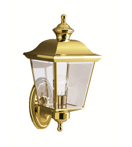 premium selection fb9aa c5851 Kichler 9712PB Bay Shore 1 Light 16 inch Polished Brass Outdoor Wall Lantern
