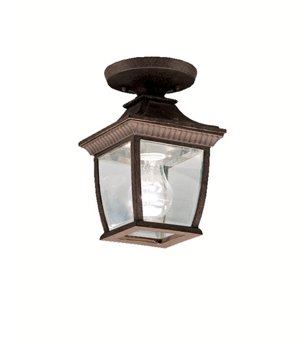 Kichler Lighting Amesbury 1 Light Outdoor Ceiling in Tannery Bronze w/ Gold Accent 9806TZG