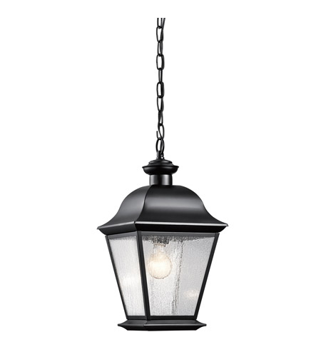Kichler Lighting Mount Vernon 1 Light Outdoor Hanging Pendant in Painted Black 9809BK