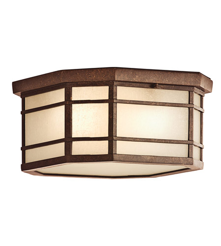 Kichler Lighting Crosett 3 Light Outdoor Flush Mount in Aged Bronze 9811AGZ