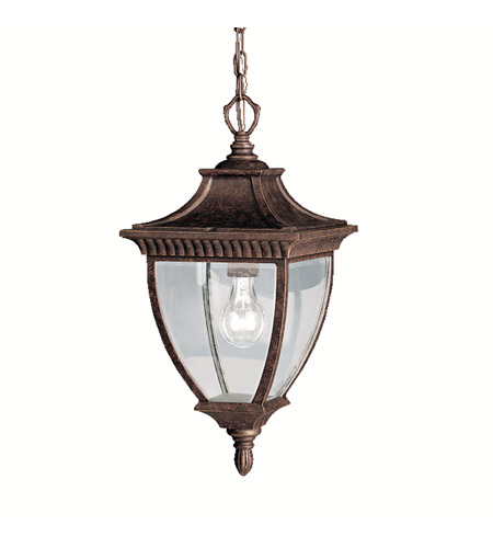 Kichler lighting amesbury 1 light outdoor pendant in tannery bronze w gold accent 9826tzg