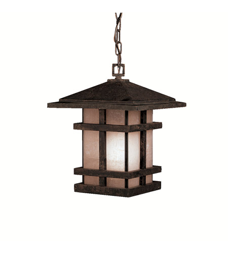 Kichler Lighting Cross Creek 1 Light Outdoor Pendant in Aged Bronze 9829AGZ