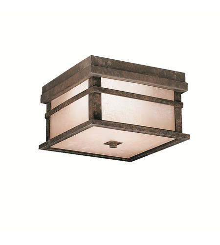 Kichler Lighting Cross Creek 2 Light Outdoor Flush Mount in Aged Bronze 9830AGZ photo