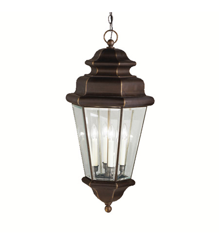 Kichler Lighting Savannah Estates 4 Light Outdoor Pendant in Olde Bronze 9831OZ photo