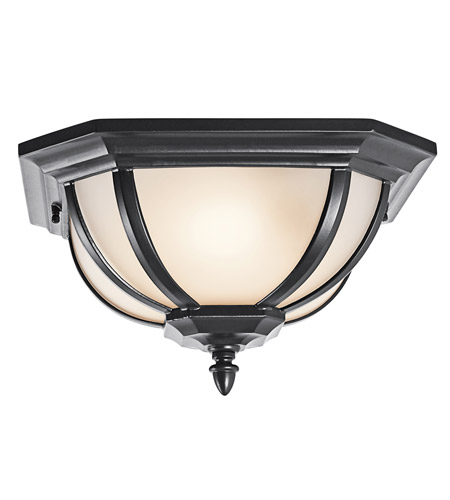 Kichler Lighting Signature 2 Light Outdoor Flush Mount in Black (Painted) 9848BKS