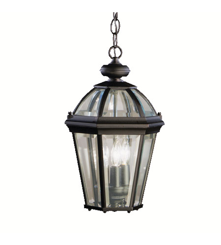 Kichler Lighting Trenton 3 Light Outdoor Pendant in Black (Painted) 9851BK