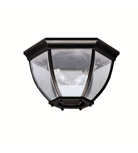 Kichler 9886BK Signature 2 Light 12 inch Black Outdoor Flush Mount in Clear Glass photo
