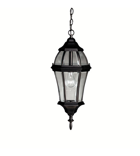 Kichler Lighting Townhouse 1 Light Outdoor Pendant in Black (Painted) 9892BK