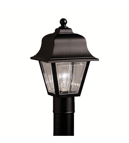 Kichler Lighting Outdoor Plastic Fixtures 1 Light Outdoor Post Lantern in Black Material 9901BK