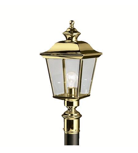 Kichler Lighting Bay Shore 1 Light Outdoor Post Lantern in Polished Brass 9913PB photo