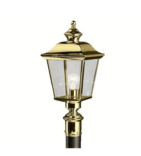 Kichler 9913pb bay shore 1 light 23 inch polished brass outdoor post lantern photo
