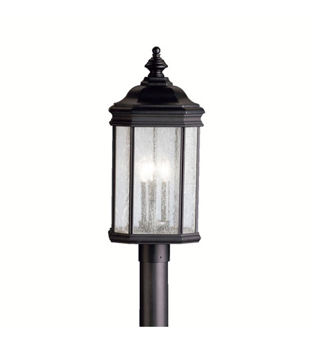 Kichler Lighting Kirkwood 3 Light Outdoor Post Lantern in Black (Painted) 9918BK