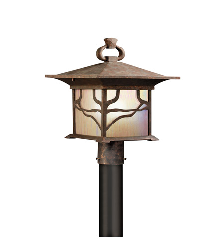 Kichler Lighting Morris 1 Light Outdoor Post Lantern in Distressed Copper 9920DCO photo