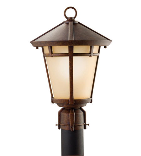 Kichler Lighting Melbern 1 Light Outdoor Post Lantern in Aged Bronze 9955AGZ photo