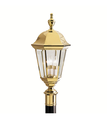 Kichler Lighting Grove Mill 3 Light Outdoor Post Lantern in Polished Brass 9989PB photo