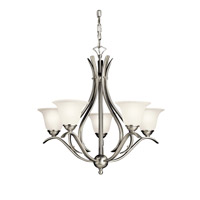 Kichler 10320NI Dover 5 Light 24 inch Brushed Nickel Fluorescent Chandelier Ceiling Light