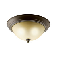 Kichler 10836OZ Signature 2 Light 13 inch Olde Bronze Flush Mount Ceiling Light