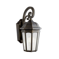 Kichler 11011RZ Courtyard 1 Light 18 inch Rubbed Bronze Fluorescent Outdoor Wall Lantern