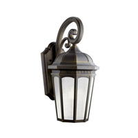 Kichler 11012RZ Courtyard 1 Light 22 inch Rubbed Bronze Fluorescent Outdoor Wall Lantern
