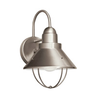 Kichler 11098NI Seaside 1 Light 12 inch Brushed Nickel Fluorescent Outdoor Wall Lantern