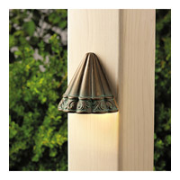Kichler Lighting Ainsley Square 1 Light Landscape 12V Deck in Verdigris with Aged Brass 15021VGB