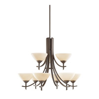 Kichler 1680OZ Olympia 9 Light 32 inch Olde Bronze Chandelier Ceiling Light in Sunset Marble Glass