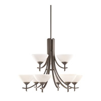 Kichler 1680OZW Olympia 9 Light 32 inch Olde Bronze Chandelier Ceiling Light in Satin Etched Glass