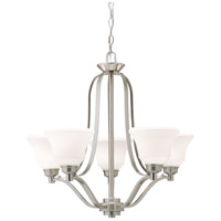 Kichler Lighting Langford 5 Light Chandelier in Brushed Nickel with Etched White Glass 1783NI photo thumbnail