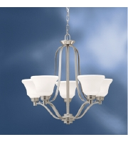 Kichler Lighting Langford 5 Light Chandelier in Brushed Nickel with Etched White Glass 1783NI alternative photo thumbnail